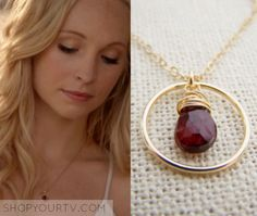 Caroline Forbes (Candice Accola) wears this gold and red circle stone necklace in this episode of The Vampire Diaries. It is the CYDesignStudio Garnet Gemstone Wire Wrapped Briolette Teardrop Necklace. Vampire Diaries Stefan, Vampire Diaries Season 7, Vampire Diaries Fashion, Vampire Diaries The Originals, Nina Dobrev, Candice Accola, Caroline Forbes, Vampire Diaries Necklace, Teardrop Necklace