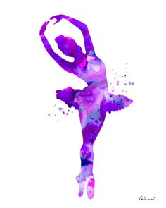 Purple ballerina 3 ballerina print ballerina by FluidDiamondArt Ballerina Silhouette, Ballerina Kunst, Dance Paintings, Painting Art, Ballet Art, Cute Wallpapers, Watercolor Art, Art Drawings, Contemporary Art