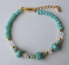 Simple and pretty Turquoise Jewelry, Gemstone Jewelry, Beaded Jewelry, Beaded Necklace, Crystal Bracelets, Jewelry Bracelets, Jewelry Gifts, Jewelery, Homemade Jewelry