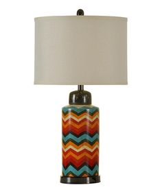 This Chevron Ceramic Table Lamp is perfect! #zulilyfinds