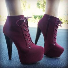 Faux Nubuck Burgundy Platform Lace Up Heel Booties