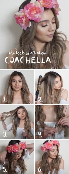 """Alexandra or @Manes.n.makeup on social creates this easy festival look and here's how:   1. Start with air dried hair or second day hair and part it down the middle. 2. Take random sections of your hair and curl/ wave your hair away from the face with a 1 1/4"""" curling iron. This doesn't have to be perfect.  3. Use any texture spray and as you're spraying pull apart the curls to make the hair a little bit more messy.  4. Take a small section from behind your hair and start to braid. I did a…"""