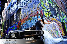 Mustangs in Black Shelby Convertible Ford Mustang in Melbourne's Hosier Lane for George and Megan's wedding photo shoot - photo by Alex Pavlou Photography. Wedding Car Hire, Mustang Convertible, Melbourne Australia, Wedding Photoshoot, Wedding Locations, Ford Mustang, Groom, Wedding Photography, Melbourne Wedding