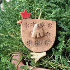 stoneware christmas ornament - chicken