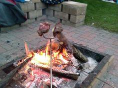 Steak over an open fire