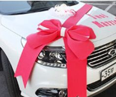 Wedding car Decorations kit Big Ribbons Red bows Letter banner Decorations