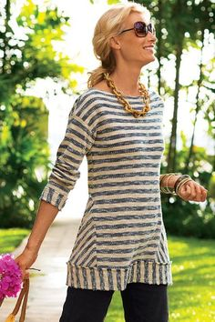 Sea or shore, you'll love our Marina Pullover! Textural cotton makes this style span the seasons with comfort and style. Dropped shoulders add a modern silhouette.
