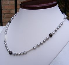 Feminine Grey and Mocha Pearl Sterling Silver Necklace with Magnetic Clasp £35.00