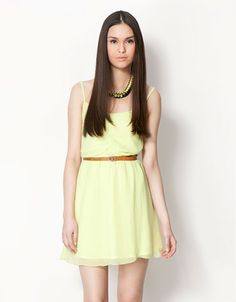 Soft dress by Bershka España - for a walk with friends Head To Toe, Star Fashion, Latest Fashion Trends, Color Pop, Spring Summer, Street Style, Product Description, Female, Yellow