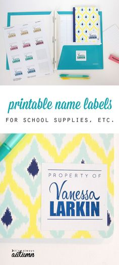 Great idea! Print name labels for your kids' school supplies and other stuff so they can keep track of everything. Free template. #sp #HSMinc