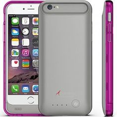 iPhone 6 Battery Case, Alpatronix BX140 Ultra-Slim Protective Extended iPhone 6 Battery Charging Case (4.7) with Removable / Rechargeable Power Cover [Fits all versions of the Apple iPhone 6 / 3100mAh Battery Pack / Full iOS 8 Compatible Support / No Signal Reduction / Apple Certified Chip / 4.7 Inch-Model Only] – (Space Gray – Purple & Smoke Color Bumpers)