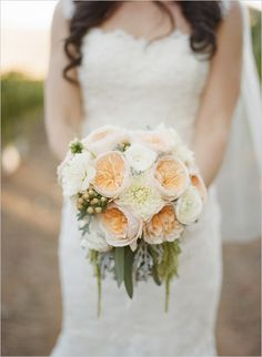 white wedding peach accent - Google Search
