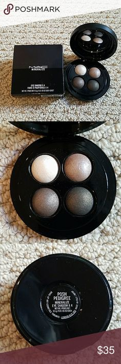 MAC Mineralize Eyeshadow Palette Posh Pedigree A gorgeous selection of neutrals that will complete any makeup collection. Baked eyeshadow that is shimmery,  pigment rich and so bendable. From an iconic brand. NWT, never used,  100 % authentic (as is all my makeup). MAC Cosmetics Makeup Eyeshadow