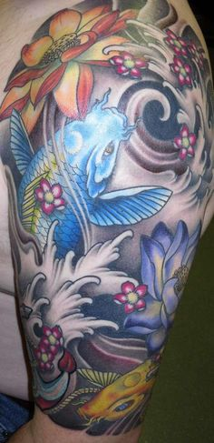 japanese blue fish 30 Groovy Half Sleeve Tattoos For Men