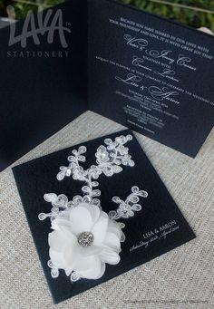 White & navy chiffon lace wedding invitation by www.lavastationery.com.au