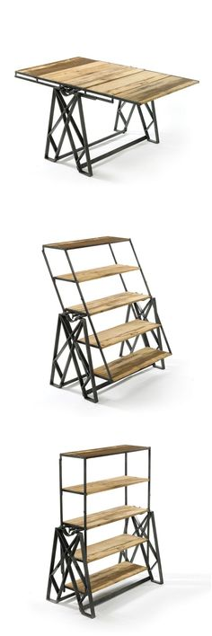 In a piece of fascinating product design, this set of reclaimed wooden shelves can be converted into a table. The only problem - what's the point of shelves that have to be cleared before each table use? Cool Furniture, Furniture Design, Flexible Furniture, Wicker Furniture, Antique Furniture, Painted Furniture, Furniture Ideas, Deco Originale, Industrial Chic