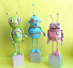 Turquoise Folk Art Robot Sculpture by indigotwin on Etsy, $23.00