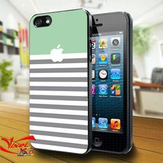 Phone Cases – mint stripe iphone logo iphone 4/4S/5 case cover – a unique product by Reyes-Dawn- on DaWanda