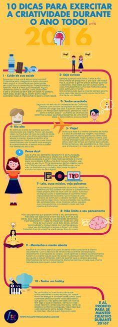 Confira 10 dicas para manter a criatividade em alta, ter mais disposição no dia…