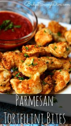 So Good You Will Want To Eat Them ALL Yourself!!! Must Make!!! Remember to Pin Now :) Parmesan Tortellini Bites Recipe - SO Yummy and Easy To Make Recipe