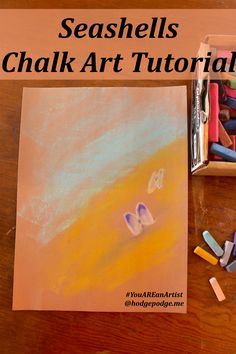 With chalk pastels create a beautiful seashells chalk art with this simple…