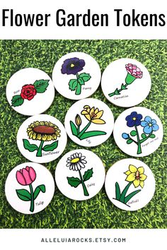 This set helps children learn the names of common spring flowers! #springflowers #flowertokens #gardening #gardeningforkids Pansies, Daffodils, Teaching Kids, Kids Learning, Hand Painted Rocks, Painted Stones, Story Stones, Garden Markers, Garden Club