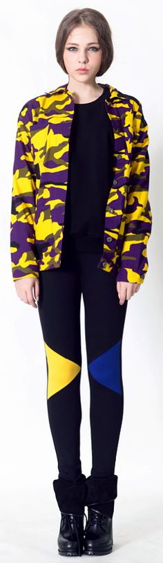 Camouflage Jacket (2 Colors)  | Fall & Winter | Dolly & Molly | www.dollymolly.com | #camou #blue #yellow #leggings #cool #chic #playful #circus #military #camouflage #pattern #winter #lookbook #style