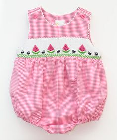 Look what I found on #zulily! Pink Gingham Watermelon Smocked Bubble Bodysuit - Infant #zulilyfinds