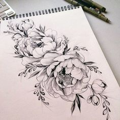 Beautiful Black And White Floral Tattoo Design Inspiration Vintage Flowers