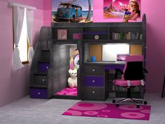 Photos for Kids & Teens World - Yelp Teen Bedroom Designs, Cute Bedroom Ideas, Cute Room Decor, Room Ideas Bedroom, Small Room Bedroom, Awesome Bedrooms, Cool Rooms, Modern Kids Bedroom, Bed For Girls Room