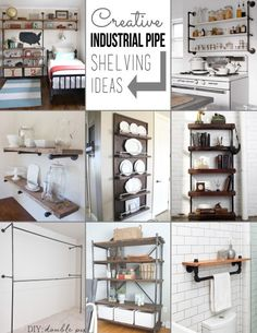 Creative Pipe Shelving Ideas - love this type of shelving. Its easy to create and customize to your space. These are some of the more creative pipe shelving ideas I have seen.