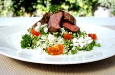 Lamb Place lamb fillets in a mixing bowl with salt, pepper and oregano. Marinate for 10 minutes. Sear the lamb fillets in a hot pan with 10ml of oil and finish cooking in oven for 8 minutes on 190 degrees Celsius. Rest the lamb for 8 minutes while preparing the salad. After resting: Slice lamb on a…