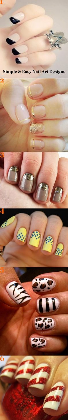 Image via  Red nails gold accents   Image via  Pretty Short Nail Designs For Spring and it's Nerium colors   Image via  Simple Nail Art Designs for Short Nails   Image via  fun summ