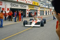 Ayrton Senna testing McLaren MP4-4B, a 1988-1989 hybrid which was the first to receive Honda V10 3.5L non-turbo engine, Imola. ""