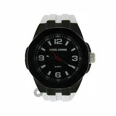 Ανδρικό μοντέρνο sport quartz ρολόι ANGEL με μαύρο καντράν, μαύρη κάσα & λευκό καουτσούκ | Ρολόγια ANGEL στο κατάστημα ΤΣΑΛΔΑΡΗΣ στο Χαλάνδρι #angel #μαυρο #σιλικονη #ανδρικο #ρολοι Casio Watch, Watches, Men, Accessories, Clocks, Clock, Guys, Ornament