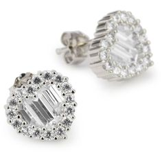 """CZ by Kenneth Jay Lane """"Trend Cubic Zirconia"""" Rhodium-Plated Traditional Heart Stud Earrings Post and other apparel, accessories and trends. Browse and shop 8 r..."""