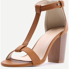 T-strap PU Block Heeled Sandals ($26) ❤ liked on Polyvore featuring shoes, sandals, polyurethane shoes, block heel shoes, pu shoes, t-strap sandals and t-bar shoes
