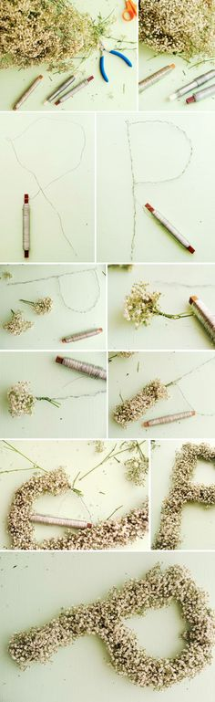 DIY Flower lettering Wedding Decorations. I think that's baby's breath and we could do a T!