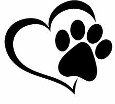 Paw Print And A Heart Car Decal – Paw Print und ein Herz-Auto-Aufkleber – Dog Tattoos, Cat Tattoo, Paw Print Tattoos, Tatoos, Window Decals, Car Decals, Coeur Tattoo, Machine Silhouette Portrait, Cat Paw Print