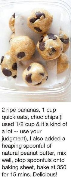 Great healthy breakfast idea. If you want you could replace chocolate chips with peanut butter chips.