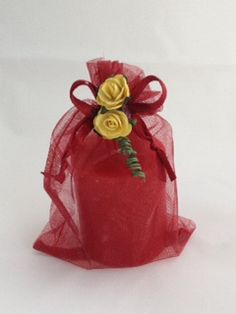 Red Scented candle in an Organza Bag