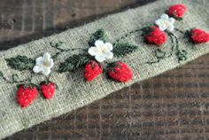 Wild Strawberry Embroidered Cuff Bracelet, red berries embroidered on repurposed green wool