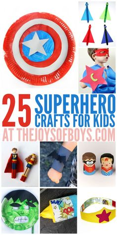 If you have young superheroes living at your house, they will love these superhero crafts for kids. Most of them are so simple to make. I think we'll try the hulk mask next! (cork crafts for kids) Crafts For Kids To Make, Projects For Kids, Craft Projects, Craft Ideas, Kids Diy, Arts And Crafts For Kids For Summer, Simple Kids Crafts, Reading Projects, Creative Crafts