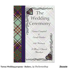 Tartan Wedding program - Anderson