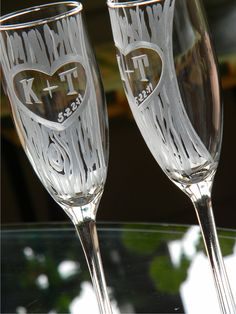 toasting flutes...these are my boyfriends and my initials :) perfect!
