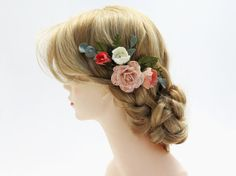 Pink Blush Flower Hair Comb  Wedding Hair by PaperGardenGallery