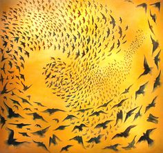 Tough Counting  During the fourth year of Operation Iraqi Freedom we lost an additional 907 American troops and personnel.  Each bird in this painting represents a soul we've offered up.