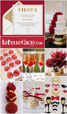 Invitaciones de cumpleaños, Invitaciones para cumpleaños, fiesta roja y dorada…