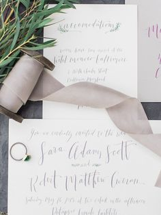 Gray Calligraphy Invitations | photography by http://www.lissaryanphotography.com/