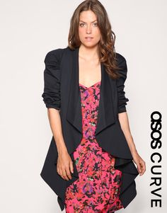 ASOS CURVE Ruched Sleeve Drapey Jacket